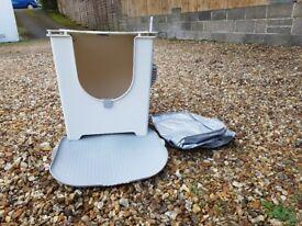Modko Flip cat litter box / tray with Modko Katch mat and reusable liner/ tarp and scoop