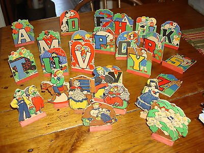 Antique SET ALPHABET NURSERY RHYME CUT-OUT STAND-UPS - Cut Out Stand Ups