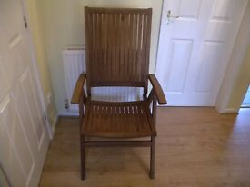 Teak garden dining chairs reclining and folding used twice have been dry stored. Set of 6