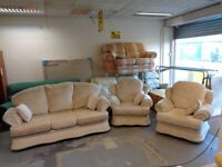 3 Piece Suite in Beige Fabric. 3 Seater Sofa & 2 Armchairs