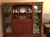 Dining table with 6 chairs and glass display unit