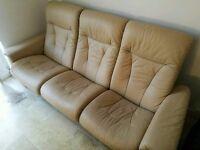 Luxury cream leather recliner sofa