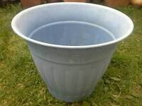 Very large blue hard, strong plastic resin garden planter