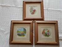3 x Winnie the Pooh framed pictures. Excellent condition in solid pine wooden frames.
