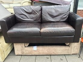 REAL LEATHER SOFA IN DARK BROWN SHABBY CHIC LOOK