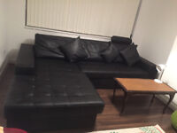 Leather corner cofa bed