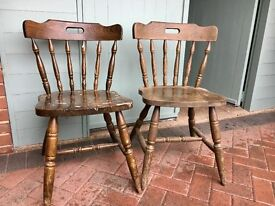 2 solid wood dining room/kitchen chairs ideal for restoration