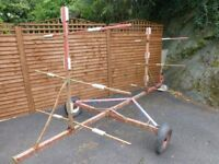 a kayak trailer suitable for 6 boats, with spare wheel. Can be adjusted to suit 6 smallerboats