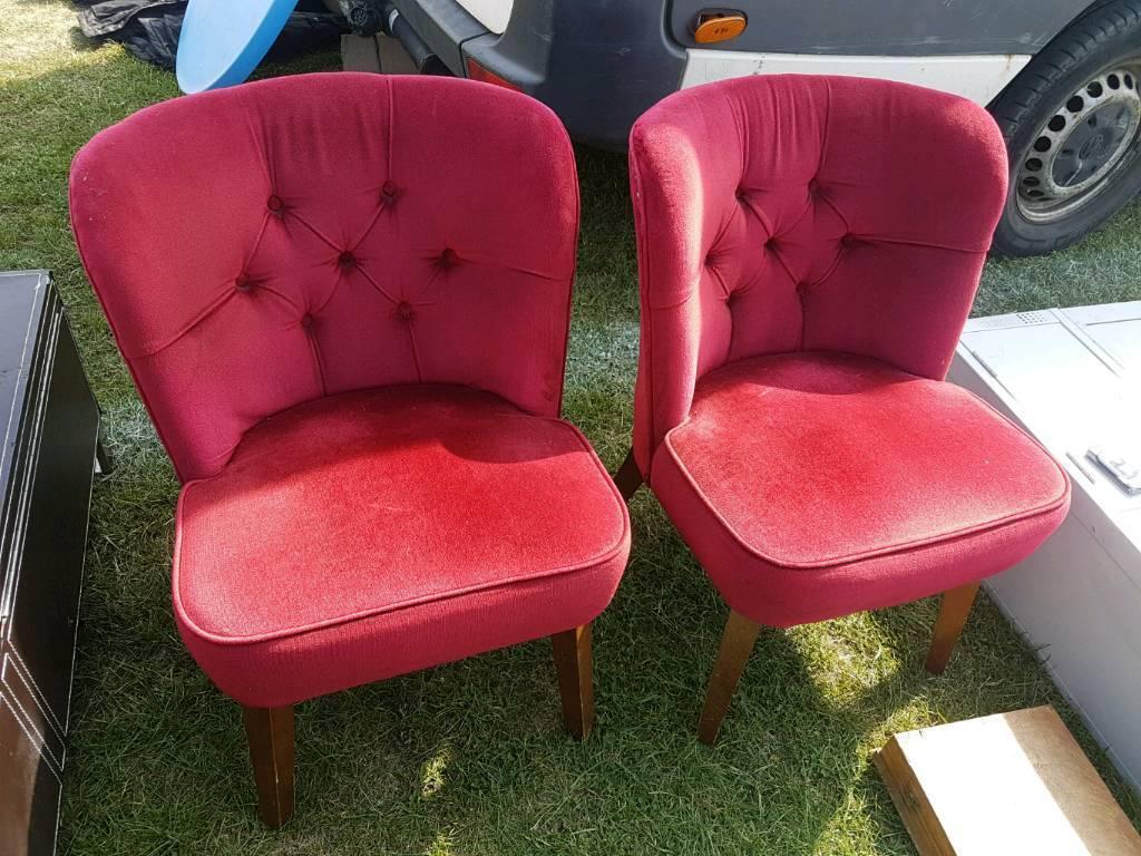 Pair Of Red Velvet Bedroom Chairs
