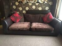 x2 DFS Brown Leather/Fabric Sofas