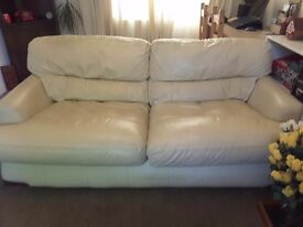 Beige leather large sofa bed (double bed)