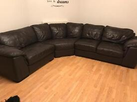 Leather corner settee and chair