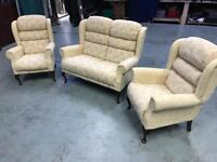 Beige cream 3 piece suite 2 seater sofa and 2 armchairs
