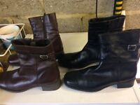 1 pair Brown boots used 1pair black boots used both size 6 nearly new
