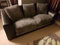 Small Black & Grey Two Seater Sofa w180 x d87 x h58 cm