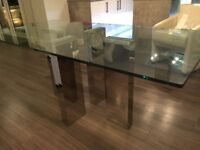 Glass dining table with chrome legs 180 length 90 wide