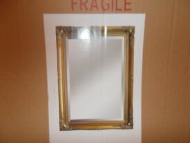 gold colour ornate fancy wall mirror 30x20 inches