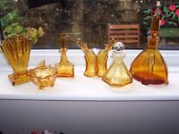 COLLECTION 6 ITEMS ART DECO AMBER GLASS