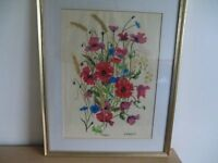 "IN KINGS LYNN- VINTAGE LOVELY FRAMED COLOURFUL ""POPPIES"" WATERCOLOUR PAINTING"