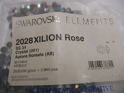 (72 swarovski hot-fix flatbacks,34ss crystal AB/foiled #2028)