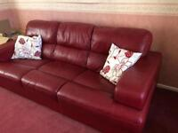 Red leather 2 and 3 seat settees
