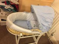 Blue Moses basket and rocking stand