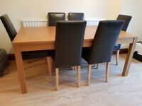 1x expandable dining table oak veneer finish with 6 x brown faux leather chairs. Excellent condition