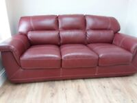 Red 3 seater and 1 recling chair