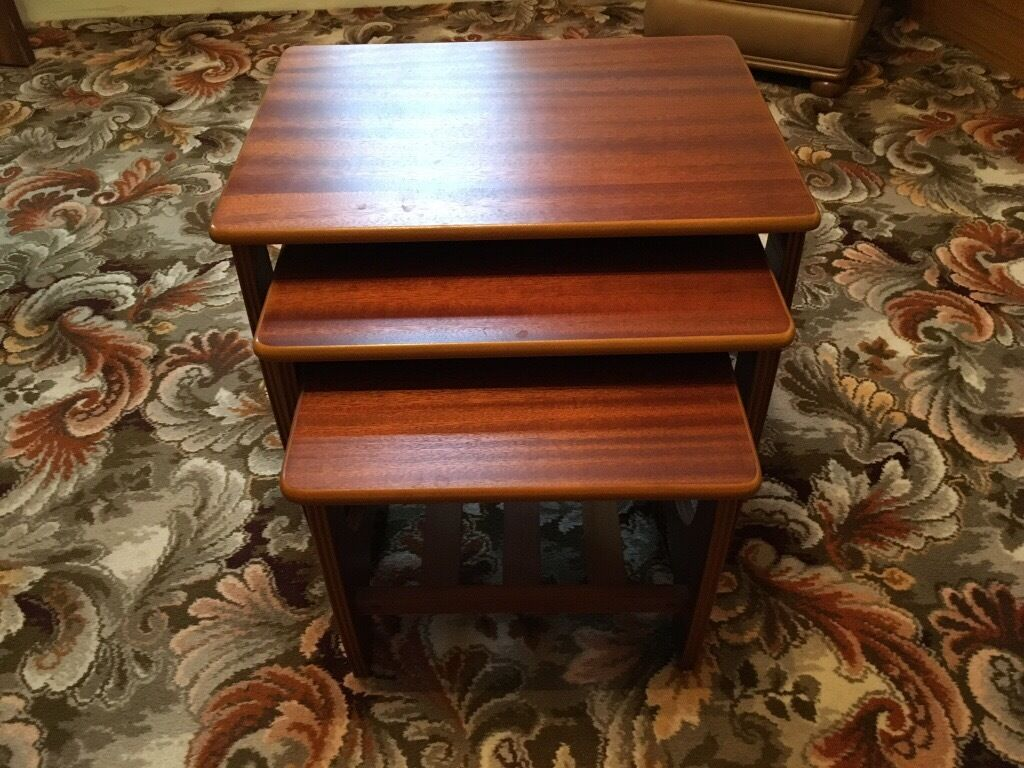 Nest of 3 Tables Wood with Magazine Shelf - Good Condition