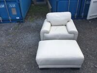 Sofa world Hans Faux white Leather Armchair and white faux leather pouffe RRP £495.99