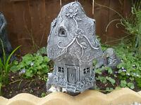 mushroom house and owl planter garden ornaments £10 each