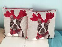 Christmas cushion - French bulldog design - nearly new