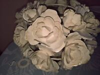 decorative vintage look metal roses light shade excellent condition