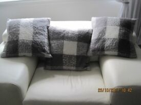 Grey and white cushions and Grey light shades