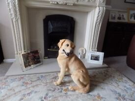 LARGE YELLOW LABRADOR SITTING DOG FIGURINE