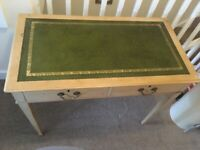 Office desk with green leather inlay