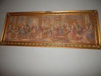 VERY LARGE ANTIQUE Vintage GOLD FRAME FRENCH Tapestry RARE