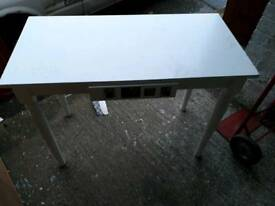 White wooden desk with draw