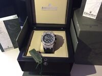 MENS DIAMOND AP ROYAL OAK CHRONOGRAPH FULLY ICED OUT NEW WITH BOX BOOKS TAGS BAG