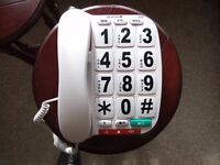 Large Button telephone - inc loudspeaker + low/high ringer ideal for visually impaired/elderly /