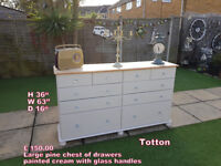 Large pine chest of drawers painted cream