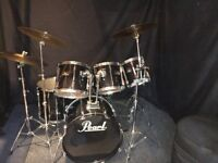 Pearl Export Series 6 Piece Drum Kit With Cymbals Stool And Pedal.