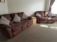 3 and 2 seater manual reclining sofas brown suedette