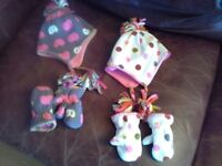 Baby girl hats and mittens