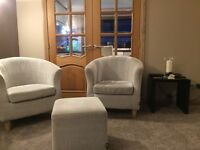 2 Tub Chairs and Matching Foot Stool, Good Condition