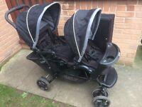 Pushchair Baby Duo Black Twin Graco Stroller Oxford Stadium Travel Pram