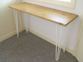 Bespoke handmade wooden table / desk. 120 x 40. Industrial retro, white hairpin legs, light wax