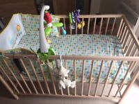 Unused baby cot including mattress, covers and bedding set + nappy disposal system and baby bouncer