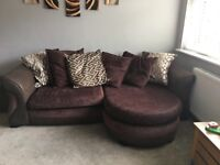 Brown DFS Sofa, Armchair and Footstool