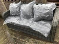 Outdoor rattan garden 3 seater grey sofa new - free delivery available